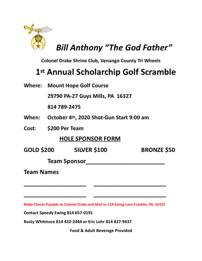 Bill Anthony 1st Annual Golf